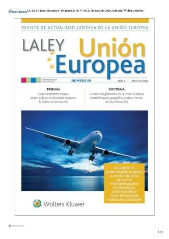LA LEY UNIÓN EUROPEA nº 59 MAYO 2018 PORTADA