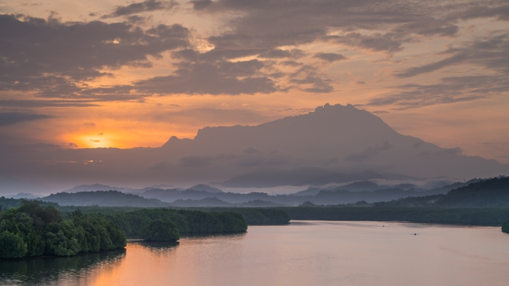 Mengkabong River and Mt Kinabalu